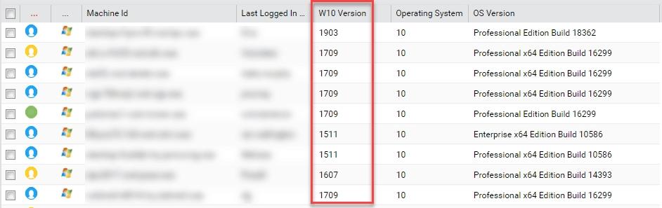Windows 10 Version Audit Field